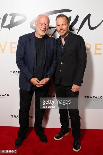 David Gilmour and Director Gavin Elder arrive for the David Gilmour 'Live At Pompeii' premiere screening at Vue West End on September 5 2017 in...