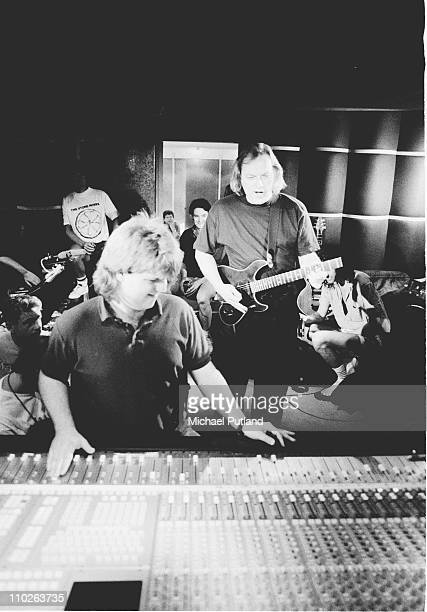 David Gilmour of Pink Floyd in recording studio during making of Armenia earthquake appeal record London 1989 He plays a Steinberger guitar