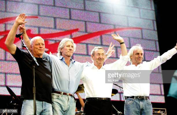 David Gilmour Roger Waters Nick Mason and Rick Wright from the band Pink Floyd on stage at 'Live 8 London' in Hyde Park on July 2 2005 in London...