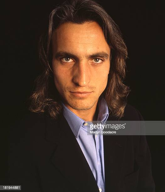 David Ginola French footballer poses for a studio portrait London 1998