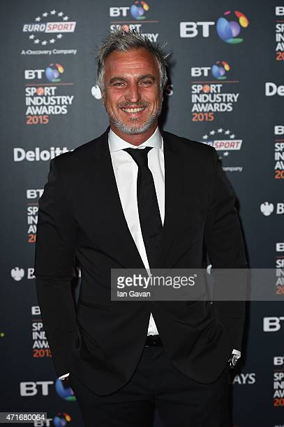David Ginola poses on the red carpet at the BT Sport Industry Awards 2015 at Battersea Evolution on April 30 2015 in London England The BT Sport...