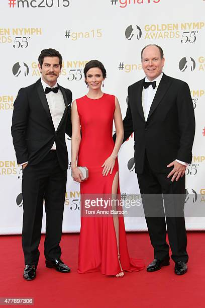David Giuntoli Bitsie Tulloch and Prince Albert II of Monaco attend the 55th Monte Carlo TV Festival Closing Ceremony and Golden Nymph Awards at the...