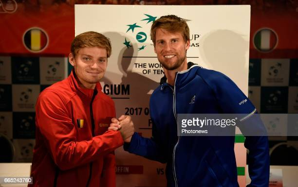 David Goffin and Andreas Seppi pictured during the draw of Davis Cup World quarterfinal match between Belgium and Italy in the Spiroudome on april 7...