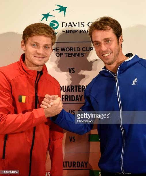David Goffin and Paolo Lorenzi pictured during the draw of Davis Cup World quarterfinal match between Belgium and Italy in the Spiroudome on april 7...