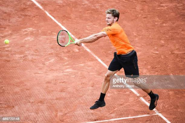 David Goffin during first round on day 2 of the French Open at Roland Garros on May 29 2017 in Paris France