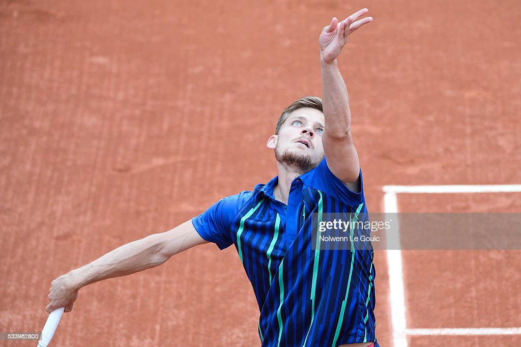 David Goffin during the Men's Singles first round on day three of the French Open 2016 at Roland Garros on May 24, 2016 in Paris, France.