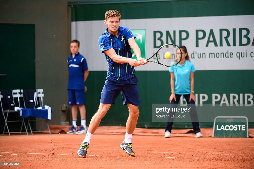 David Goffin during the Men's Singles third round on day seven of the French Open 2016 on May 28, 2016 in Paris, France.