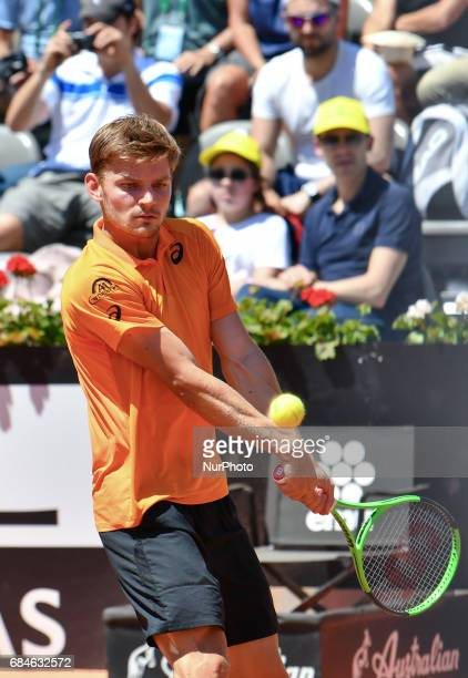 David Goffin in action during his match against Thomaz Bellucci Internazionali BNL d'Italia 2017 on May 15 2017 in Rome Italy