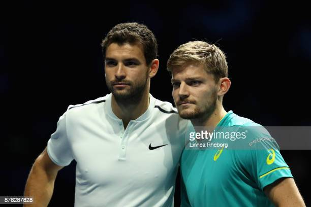 David Goffin of Belgium and Grigor Dimitrov of Bulgaria pose for a photo prior to the singles final during day eight of the 2017 Nitto ATP World Tour...