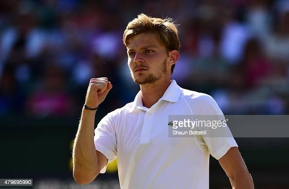 David Goffin of Belgium celebrates a point in his Gentlemen's Singles Fourth Round match against Stanislas Wawrinka of Switzerland during day seven...