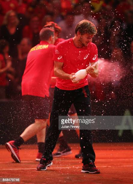 David Goffin of Belgium celebrates defeating Australia during day three of the Davis Cup World Group semi final match between Belgium and Australia...