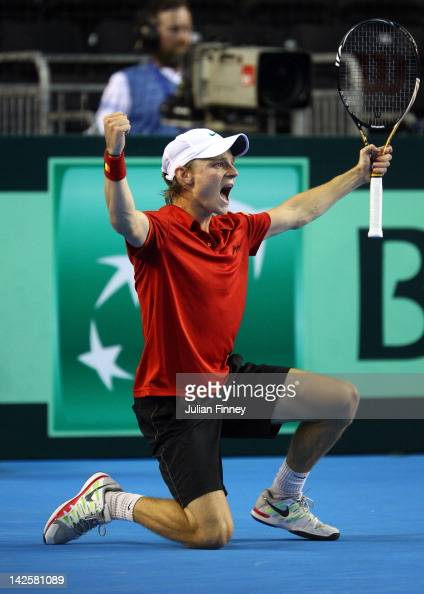 David Goffin of Belgium celebrates defeating Josh Goodall of Great Britain during day three of the Davis Cup match between Great Britain and Belgium...