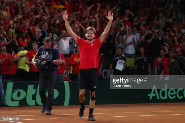 David Goffin of Belgium celebrates defeating Nick Kyrgios of Australia in the fourth set during day three of the Davis Cup World Group semi final...