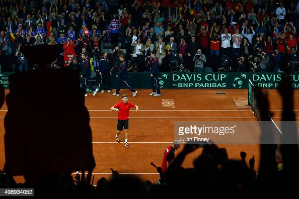 David Goffin of Belgium celebrates his victory during the singles match against Kyle Edmund of Great Britain on day one of the Davis Cup Final 2015...