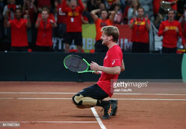 David Goffin of Belgium celebrates his victory over John Millman of Australia during day one of the Davis Cup World Group semi final at Palais 12 on...