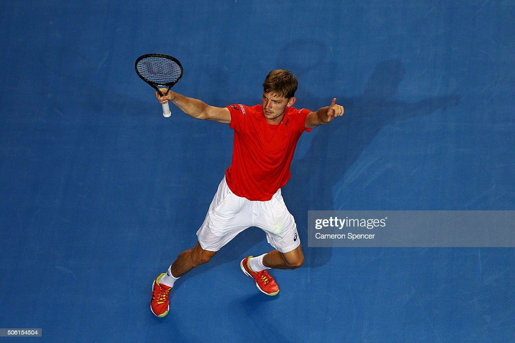 <a gi-track='captionPersonalityLinkClicked' href=/galleries/search?phrase=David+Goffin&family=editorial&specificpeople=2291768 ng-click='$event.stopPropagation()'>David Goffin</a> of Belgium celebrates match point in his third round match against Dominic Theim of Austria during day five of the 2016 Australian Open at Melbourne Park on January 22, 2016 in Melbourne, Australia.