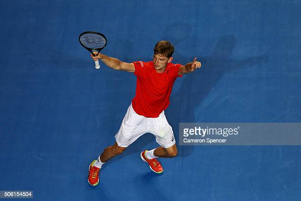 David Goffin of Belgium celebrates match point in his third round match against Dominic Theim of Austria during day five of the 2016 Australian Open...