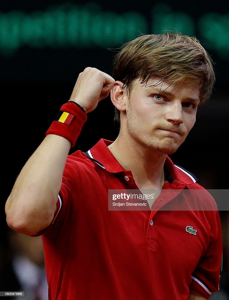 <a gi-track='captionPersonalityLinkClicked' href=/galleries/search?phrase=David+Goffin&family=editorial&specificpeople=2291768 ng-click='$event.stopPropagation()'>David Goffin</a> of Belgium celebrates victory against Boris Pasanski of Serbia after the third day of the Davis Cup singles first round match between Belgium and Serbia, at Spirou dome February 03, 2013 in Charleroi, Belgium.