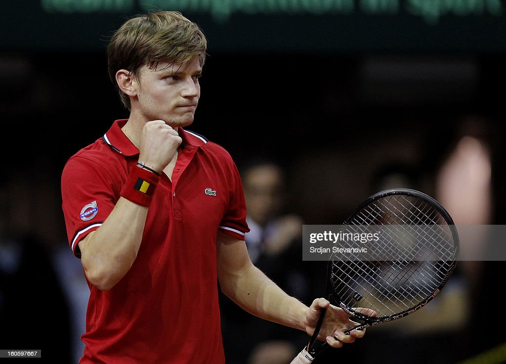 David Goffin of Belgium celebrates victory against Boris Pasanski of Serbia after the third day of the Davis Cup singles first round match between Belgium and Serbia, at Spirou dome February 03, 2013 in Charleroi, Belgium.