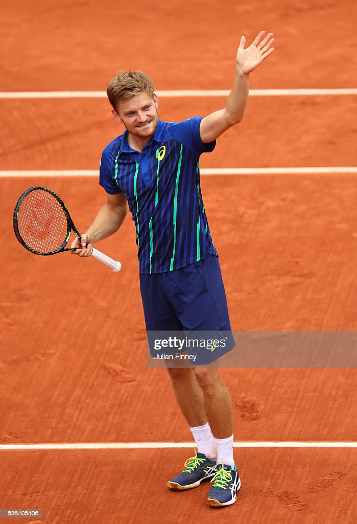 <a gi-track='captionPersonalityLinkClicked' href=/galleries/search?phrase=David+Goffin&family=editorial&specificpeople=2291768 ng-click='$event.stopPropagation()'>David Goffin</a> of Belgium celebrates victory during the Men's Singles fourth round match against Ernests Gulbis of Latvia on day eleven of the 2016 French Open at Roland Garros on June 1, 2016 in Paris, France.