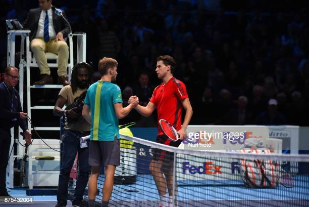 David Goffin of Belgium celebrates victory in his Singles match against Dominic Thiem of Austria during day six of the Nitto ATP World Tour Finals at...