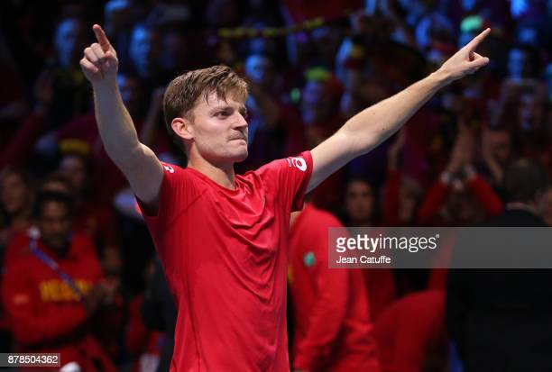 David Goffin of Belgium celebrates winning his first match against Lucas Pouille of France during day 1 of the Davis Cup World Group Final between...