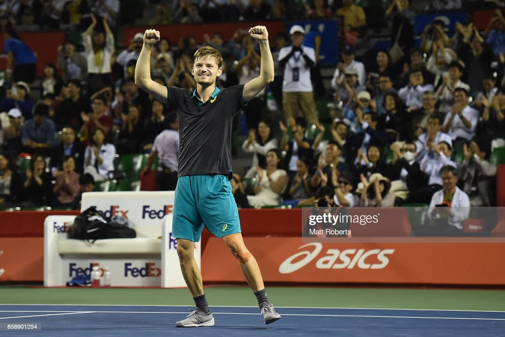 David Goffin of Belgium celebrates winning his men's final match against Adrian Mannarino of France during day seven of the Rakuten Open at Ariake Coliseum on October 8, 2017 in Tokyo, Japan.