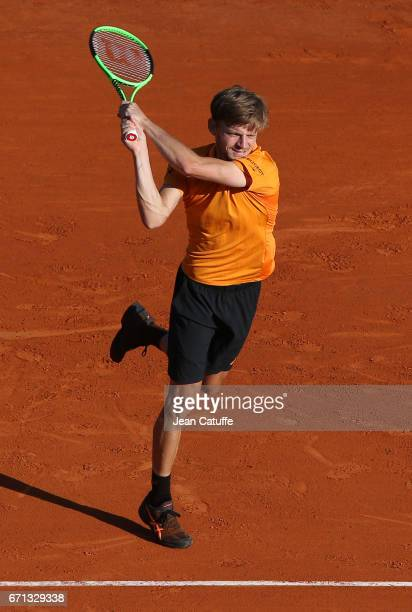 David Goffin of Belgium during his quarter final on day 6 of the MonteCarlo Rolex Masters an ATP Tour Masters Series 1000 on the clay courts of the...