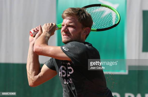 David Goffin of Belgium during practice three days ahead of the start of 2017 French Open at Roland Garros stadium on May 25 2017 in Paris France