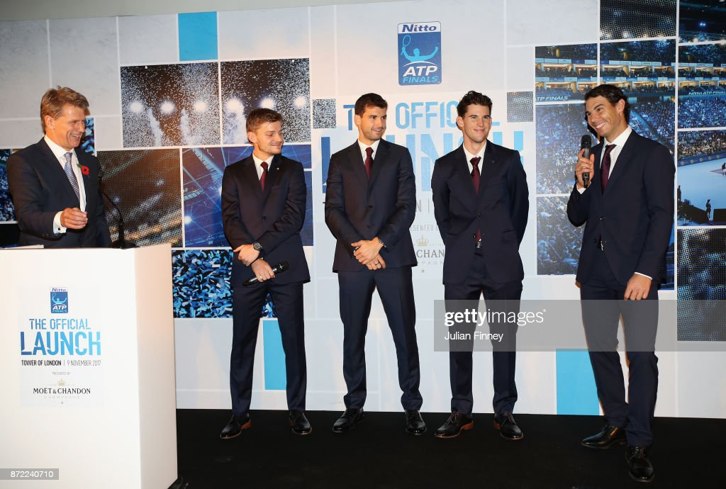 David Goffin of Belgium, Grigor Dimitrov of Bulgaria, Dominic Thiem of Austria and Rafael Nadal of Spain talk with Andrew Castle during the The Official Launch ATP Finals at Tower of London on November 9, 2017 in London, England.