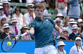 David Goffin of Belgium hits a return against Feliciano Lopez of Spain during the men's singles final on day four at the Kooyong Classic tennis...