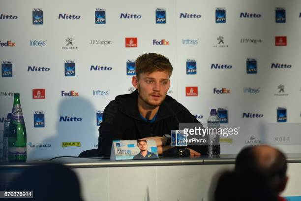 David Goffin of Belgium holds a press conference after the Nitto ATP World Tour Finals at the O2 Arena London on November 19 2017