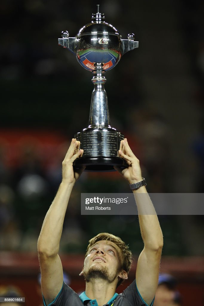 David Goffin of Belgium holds the winners trophy aloft after his men's final match against Adrian Mannarino of France during day seven of the Rakuten Open at Ariake Coliseum on October 8, 2017 in Tokyo, Japan.