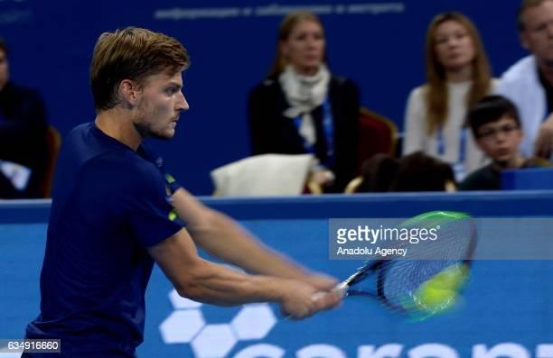 David Goffin of Belgium in action against Grigor Dimitrov of Bulgaria during men's final singles tennis match within 2017 Garanti Koza Sofia Open...
