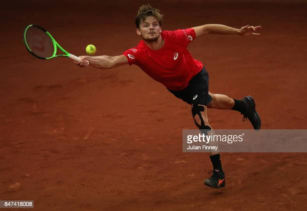 David Goffin of Belgium in action against John Millman of Australia during day one of the Davis Cup World Group semi final match between Belgium and...