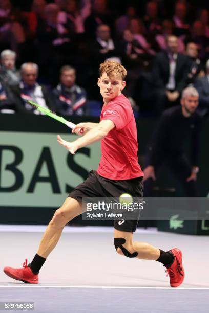 David Goffin of Belgium in action against JoWilfried Tsonga of France during his match during day 3 of the Davis Cup World Group final between France...
