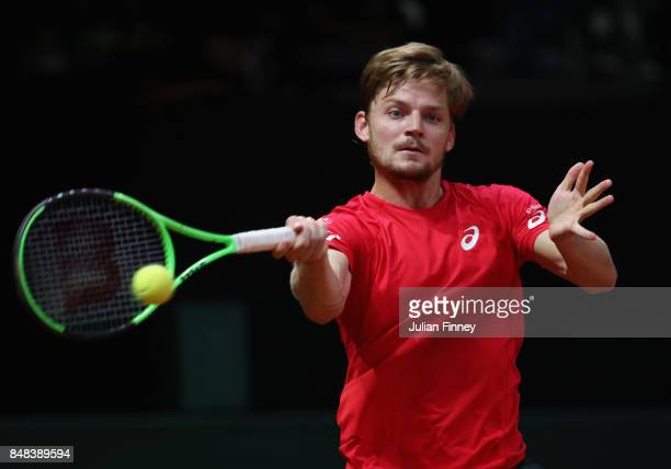 David Goffin of Belgium in action against Nick Kyrgios of Australia during day three of the Davis Cup World Group semi final match between Belgium...
