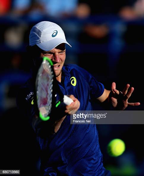 David Goffin of Belgium in action against Rafeal Nadal of Spain during the Final match of the Mubadala World Tennis Championship at Zayed Sport City...