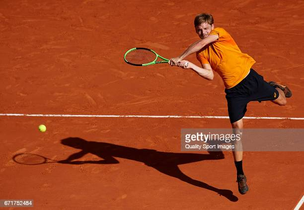 David Goffin of Belgium in action during his match against Rafael Nadal of Spain during day seven of the ATP Monte Carlo Rolex Masters Tennis at...
