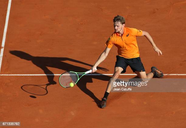 David Goffin of Belgium in action during his quarter final on day 6 of the MonteCarlo Rolex Masters an ATP Tour Masters Series 1000 on the clay...