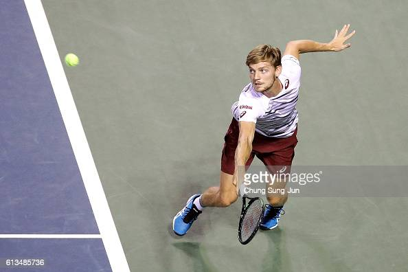 David Goffin of Belgium in action during the men's singles final match against Nick Kyrgios of Australia on day seven of Rakuten Open 2016 at Ariake...