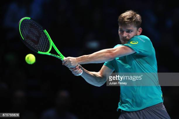David Goffin of Belgium in action during the Singles Semi Final match against Roger Federer of Switzerland on day seven of the Nitto ATP World Tour...