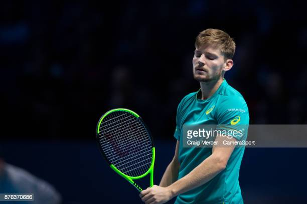 David Goffin of Belgium looks dejects during his defeat by Grigor Dimitrov of Bulgaria in the Mens final at O2 Arena on November 19 2017 in London...