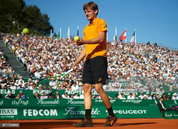 David Goffin of Belgium looks on during his match against Rafael Nadal of Spain during day seven of the ATP Monte Carlo Rolex Masters Tennis at...