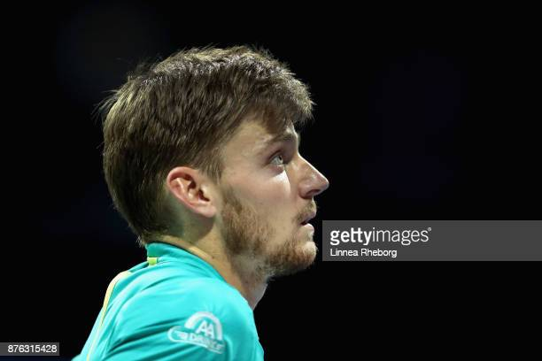 David Goffin of Belgium looks on during the singles final against Grigor Dimitrov of Bulgaria during day eight of the 2017 Nitto ATP World Tour...