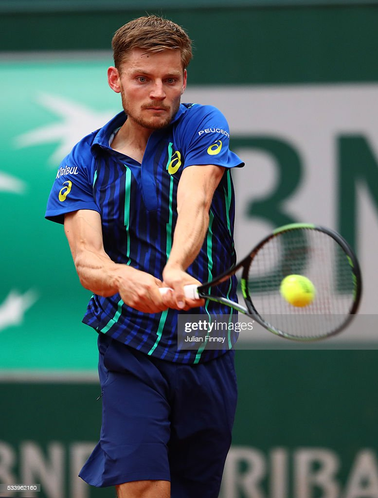 <a gi-track='captionPersonalityLinkClicked' href=/galleries/search?phrase=David+Goffin&family=editorial&specificpeople=2291768 ng-click='$event.stopPropagation()'>David Goffin</a> of Belgium of plays a backhand during the Men's Singles first round match against Gregoire Barrere of France on day three of the 2016 French Open at Roland Garros on May 24, 2016 in Paris, France.