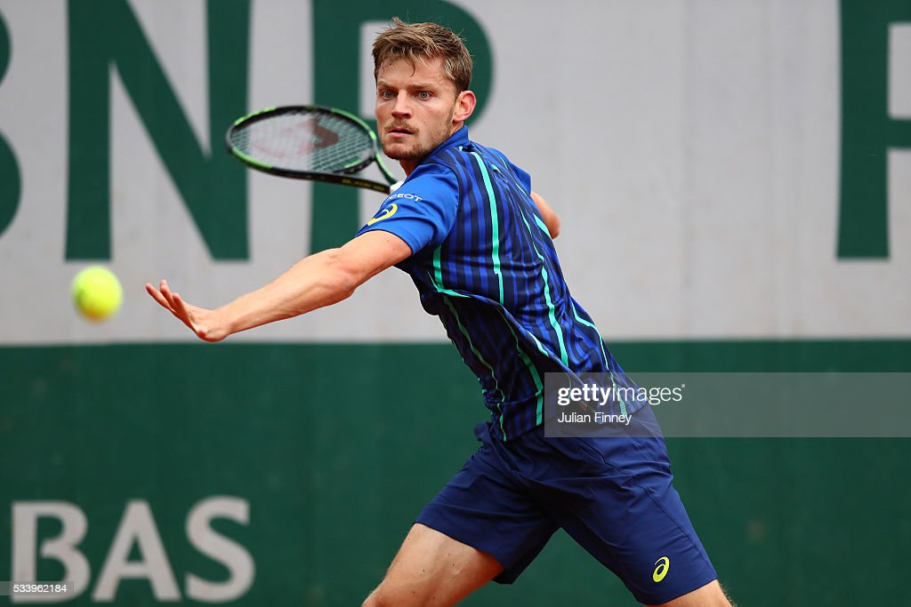 <a gi-track='captionPersonalityLinkClicked' href=/galleries/search?phrase=David+Goffin&family=editorial&specificpeople=2291768 ng-click='$event.stopPropagation()'>David Goffin</a> of Belgium of plays a forehand during the Men's Singles first round match against Gregoire Barrere of France on day three of the 2016 French Open at Roland Garros on May 24, 2016 in Paris, France.