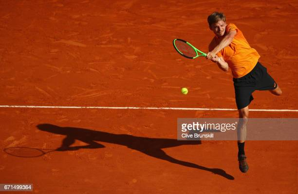 David Goffin of Belgium plays a backand against Rafael Nadal of Spain in their semi final round match on day seven of the Monte Carlo Rolex Masters...