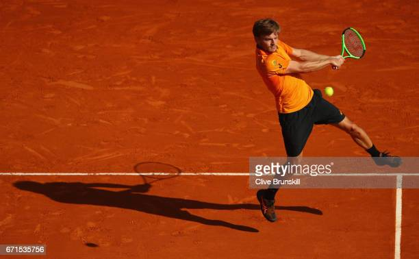 David Goffin of Belgium plays a backhand against Rafael Nadal of Spain in their semi final round match on day seven of the Monte Carlo Rolex Masters...