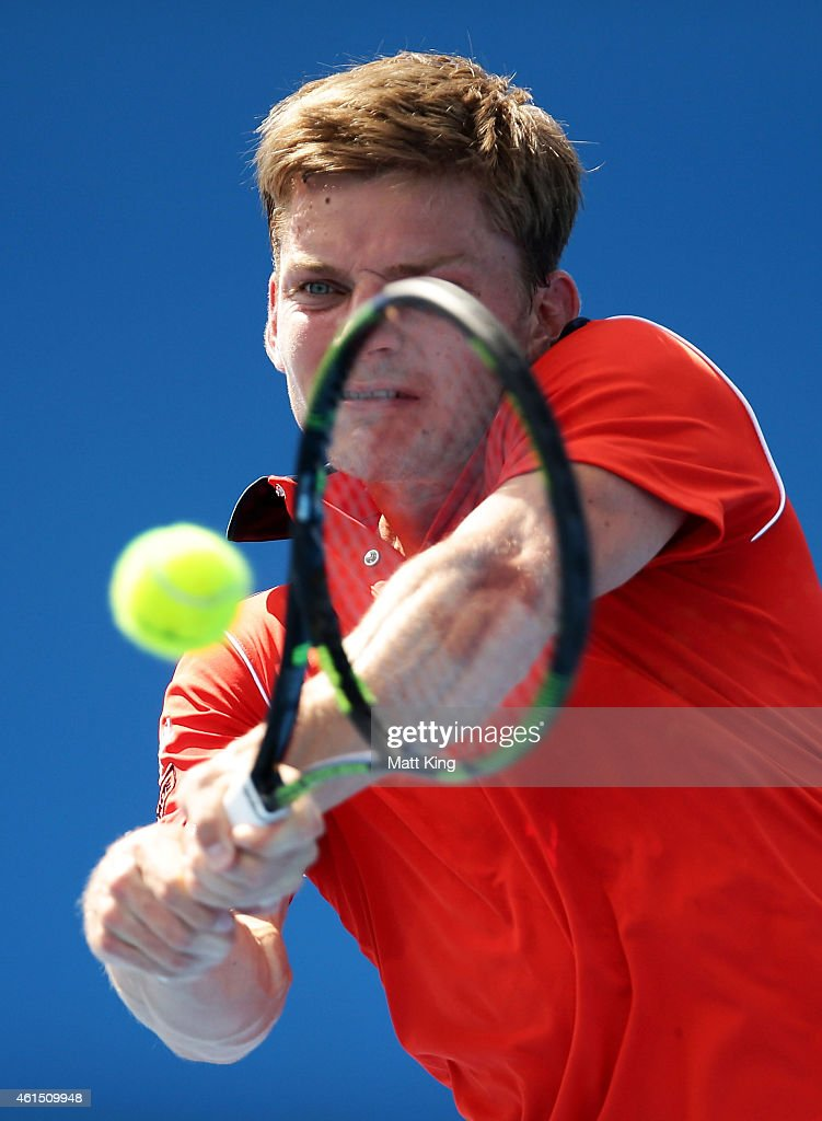 <a gi-track='captionPersonalityLinkClicked' href=/galleries/search?phrase=David+Goffin&family=editorial&specificpeople=2291768 ng-click='$event.stopPropagation()'>David Goffin</a> of Belgium plays a backhand in his match against Simone Bolelli of Italy during day four of the 2015 Sydney International at Sydney Olympic Park Tennis Centre on January 14, 2015 in Sydney, Australia.